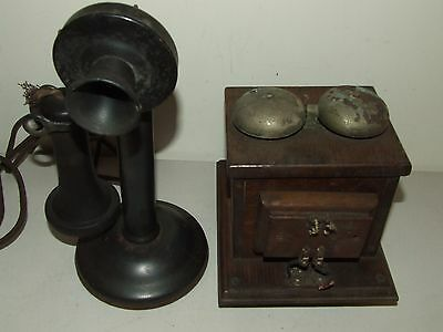 Antique 1919 WESTERN ELECTRIC Black Candlestick Phone 40AL with Oak Ringer Box