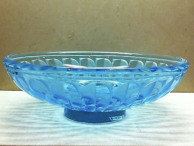 JEAN LUCE etched blue crystal glass bowl 1930s in great condition