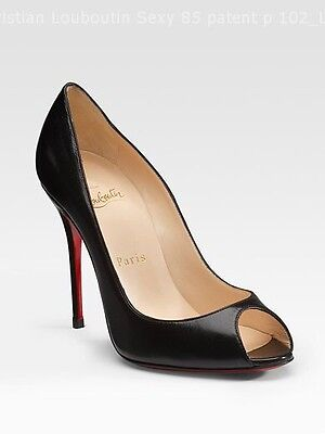 Christian Louboutin Sexy 100 Black Patent Peep Toe Shoes Heels Uk 5 Eu 38