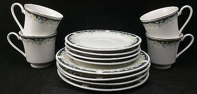 Set of 4 x Crown Dynasty Trios -  4 Tea Cups, 4 Saucers, 4 Sideplates.