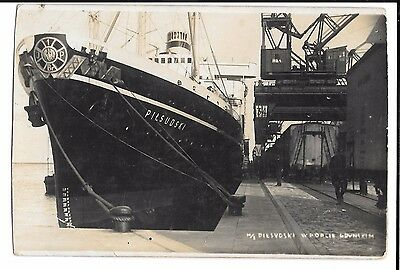 Polish Vessel, MS Piłsudski in Harbour at Gdynia, RP PPC Unposted, c 1935