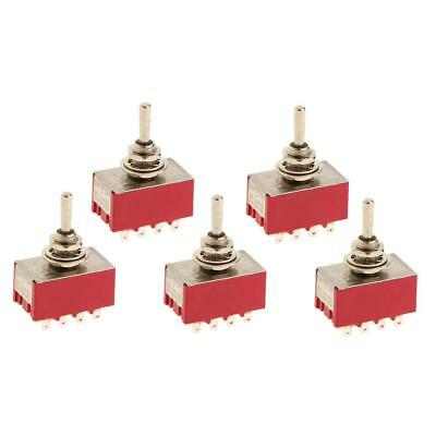 5Pcs 125VAC 6A, 250VAC 2A On/Off/On 12 PIN 4PDT Mini Toggle Switch Red