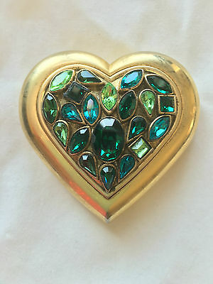 Yves Saint Laurent Paris Green Crystal Jewels Heart Compact YSL 160 grams 92792