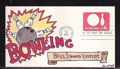 Scott U563 Bowling Pba Ben Kraft Hand Painted First Day Cover Fdc