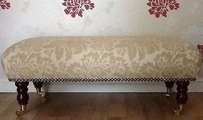 A Quality Long Footstool / Stool In Laura Ashley Acanthus Gold Fabric