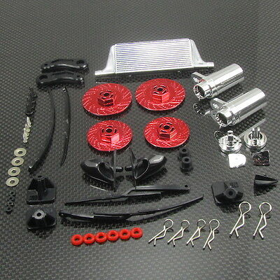 1/10 1/16 Drift Car On Road Tuner Kit Wipers Mufflers Brake Disc TOYZ 758 Red.