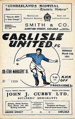 Carlisle v All Star Managers' X1 (Benefit Match) 1957