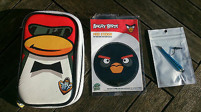 Disney club penguin Nintendo DS case with new stylus and Angry Birds sticker