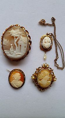4 Antique Victorian Gold filled Genuine CAMEO Jewelry pendants brooch/pin lot #2