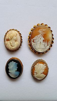 4 Antique Victorian Gold filled Genuine CAMEO Jewelry pendants brooch/pin lot #3