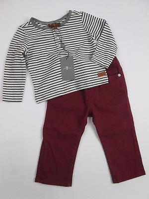 7 For All Mankind Boys Stripe Shirt& Red Burgundy Pants Jeans 2 Pc Set 12M New