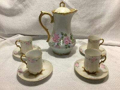 Vintage GDA France Chocolate Tea set with Pink Roses and Gold Trim