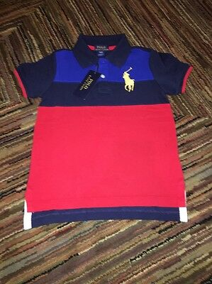 NWT POLO RALPH LAUREN toddler BOY RED MULTICOLOR STRIPED BIG PONY RUGBY SHIRT