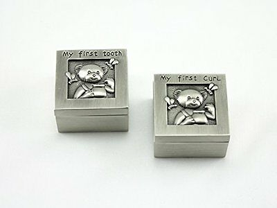 Skyway Keepsake My First Curl and Tooth Box Set Teddy Bear Pewter Silver - Engra