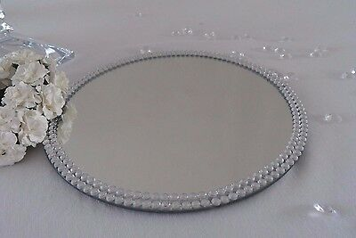 10, 20, cm Round Jewel Gem Diamante Mirror Glass Table Centerpiece Candle Plate