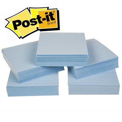 "5pk Cubes 3M Blue Lined Post-It 4x4"" Note Pads 1000 Super Sticky Sheets Office"