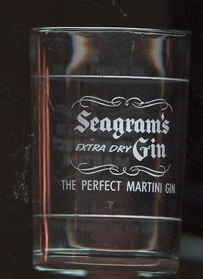 Old Painted Hazel Atlas Glass Martini Measure Advertising Seagram's Gin