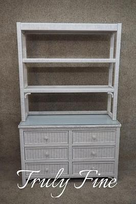 USA Henry Link Dresser Chest Of Drawers With Bookcase Top Quality White Wicker