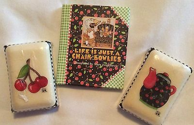 Mary Englebreit~Soap & Mini Book~Cherries~Teapot yVintage 1990s~Never Used