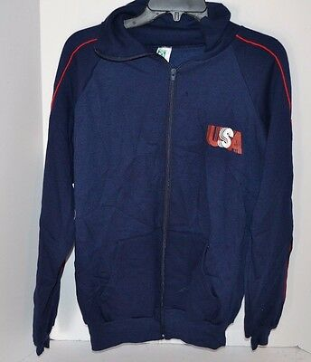 Vtg Early 1990's USA Navy Blue Discus Athletic Tracksuit Top Jacket Adult XL