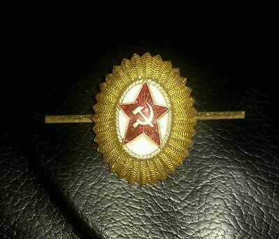 Russian Soviet army cap hat  badge Red star with hammer and sickle.