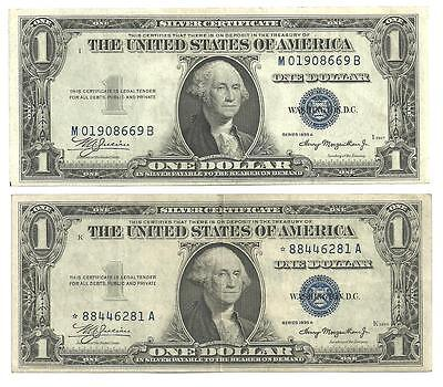 USA scarce old pair of $1 notes. Dated 1935A includes a Star note!