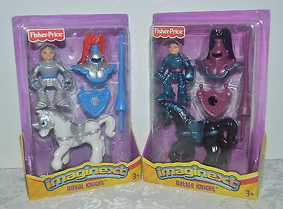 Imaginext Adventures ROYAL KNIGHT & BATTLE KNIGHT Action Figures w Horses MIP