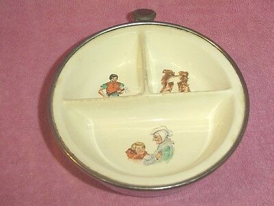 Vintage Excello Ceramic Child's Divided Warming Dish Metal Base Characters