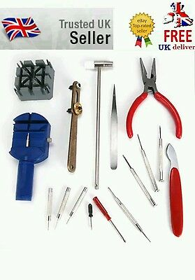 16Pcs Watchmaker Watch Repair Tool Kit Back Case Opener Remover Spring Pin Bar