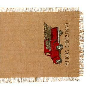 "36"" Burlap Merry Christmas Truck with Tree Runner (13 x 36"")"