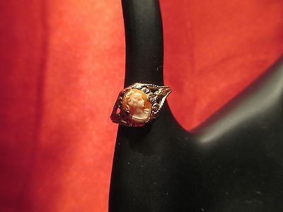 Darling Vintage Sz 5 UNCAS Cameo Costume Ring 14k GF FREE Butterfly Ring Box!
