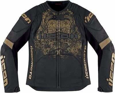 ICON Women Motorcycle Sport Jacket OVERLORD PRIME BLACK GOLD XL 2813-0491 GSXR