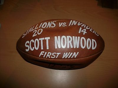 Scott Norwood Game Used USFL Trophy Ball Birmingham Stallions Hand Painted JSA