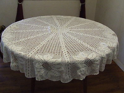 "Vintage White Hand Crochet  Round Sunflower Floral Tablecloth 70"" (L200)"