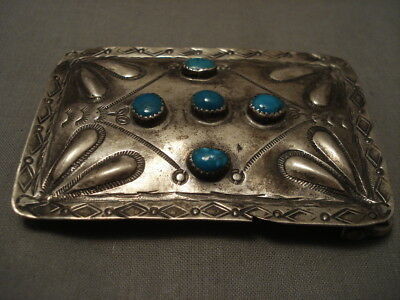 Early Hand Forged Sterling Silver Vintage Navajo Turquoise Buckle