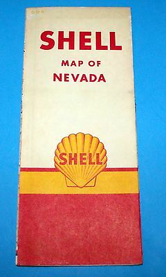 Vintage Shell Oil Nevada Map 1961