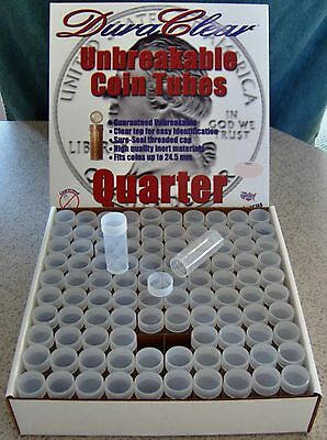 100 DuraClear Quarter COIN TUBES NEW - Display box included - Made in the U.S.A.