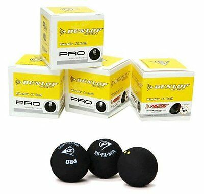 Dunlop Pro Double Yellow two dot Squash Ball Pack of 3