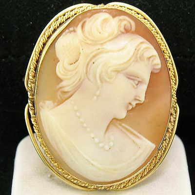 Vintage 14k Yellow Gold Twisted Wire Frame Carved Shell Cameo Brooch Pin Pendant
