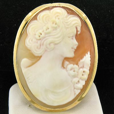 Vintage 14k Yellow Gold Polished Frame Carved Shell Cameo Brooch Pin Pendant