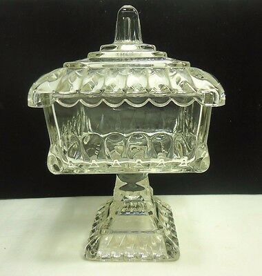 Vintage Jeanette Glass Wedding Bowl Candy Dish with Lid Clear VGC