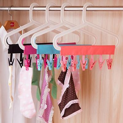 Portable Folding Clothes Rack Cloth Hanger Drying for Travel Outdoor with 6 Clip