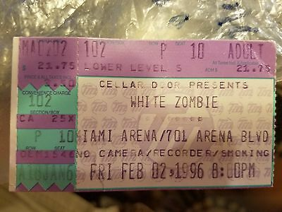 White Zombie 1996 Concert Ticket used MIAMI ARENA, FL February 2, 1996