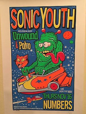 SONIC YOUTH - RARE Silkscreen CONCERT Poster - Numbered/Signed