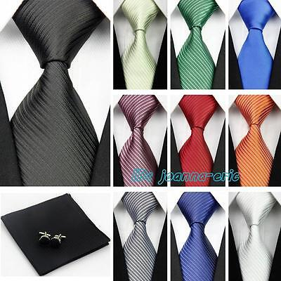 "100% Silk Ties 3""/4"" Mens Wedding Neckties Cufflinks Sets Hanky Handkerchief"