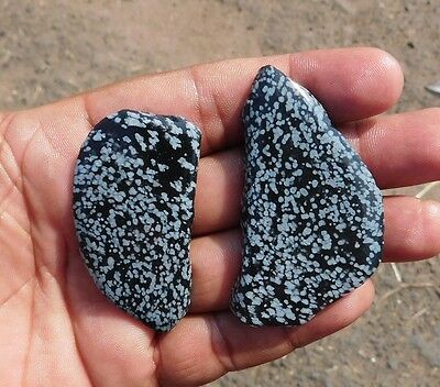 164.3 Cts Natural Awesome 2Pcs. Snowflake Obsidian Mix Lot Slab Gems