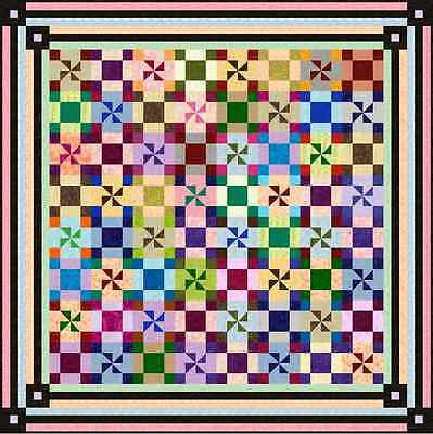 """JITTERBUG - 83"""" - Quilt-Addicts Pre-cut Patchwork Quilt Kit Queen size"""