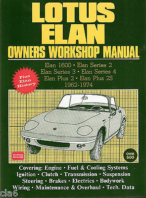 Lotus Elan Owners Workshop Manual 1962-74 - Series 1-4 and Elan Plus 2 - 2S *NEW