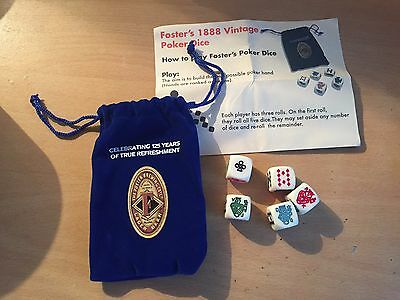 Fosters Poker Dice In A Blue Velour Pouch To Celebrate 125 Years