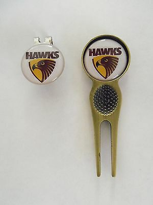 2 Only  Hawthorn Hawks Golf Ball Markers, A Quality Divot Tool &  Hat Clip